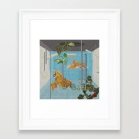 tigers Framed Art Prints featuring tigers by peterffy