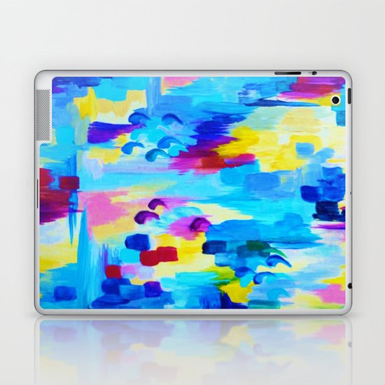 DONT QUOTE ME, Revisited - Bold Colorful Blue Pink Abstract Acrylic Painting Gift Art Home Decor  Laptop & iPad Skin