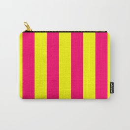 Bright Neon Pink and Yellow Vertical Cabana Tent Stripes Carry-All Pouch