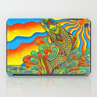 trout iPad Cases featuring Psychedelic Rainbow Trout by Rebecca Wang