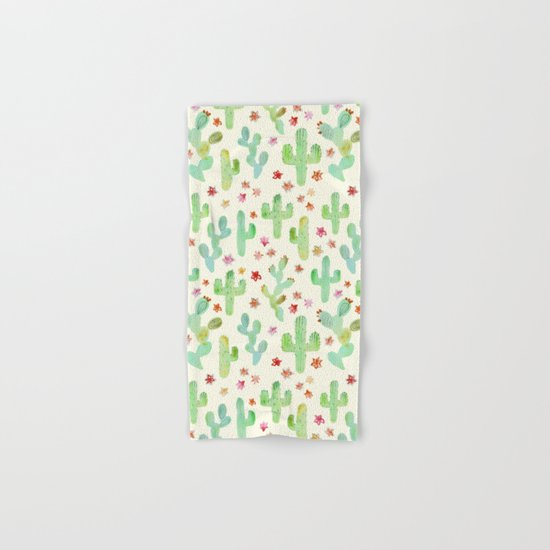 Watercolor Cacti Hand & Bath Towel