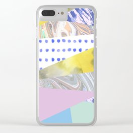 Modern geometrical pink navy blue yellow watercolor marble Clear iPhone Case