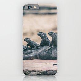 Galapagos Marine iguanas family sunbathing iPhone Case