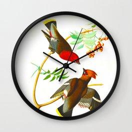 Bohemian Chatterer Bird Wall Clock