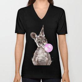 Bubble Gum Baby Kangaroo Unisex V-Neck