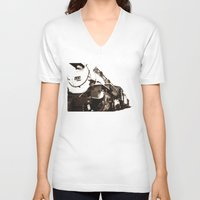 train V-neck T-shirts featuring Train by SteeleCat