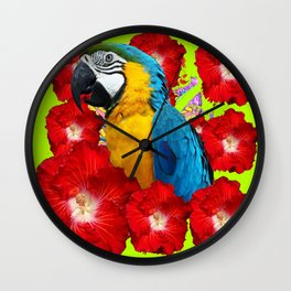 Chartreuse Red Hibiscus Flowers & Blue Macaw Parrot Wall Clock