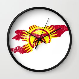 Distressed Kyrgyzstan Map Wall Clock