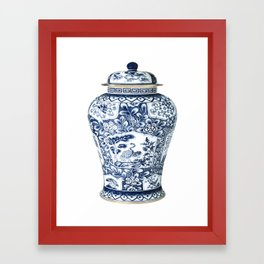 Blue & White Chinoiserie Cranes Porcelain Ginger Jar Framed Art Print