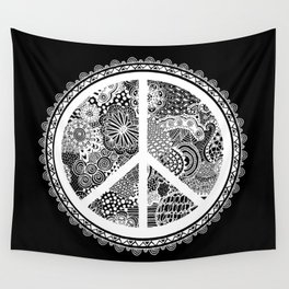 Zen Doodle Peace Symbol Black And White Wall Tapestry