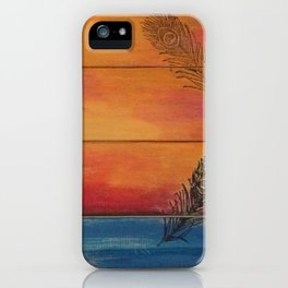 Rising Sun. My Orginal Abstract Painting by Jodilynpaintings. Abstract Sunset With Feathers. Beach iPhone Case