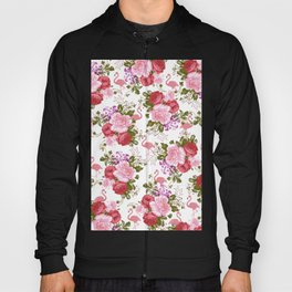 Tropical Pink Flamingo Red Pink Green Carnations Floral Hoody