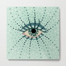 Dots And Abstract Eye Metal Print