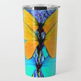 CONTEMPORARY BLUE & YELLOW BUTTERFLIES GRAPHIC ART Travel Mug