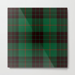 Dark Green Tartan with Black and Red Stripes Metal Print