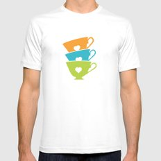 Teacups - Tea Time White Mens Fitted Tee MEDIUM