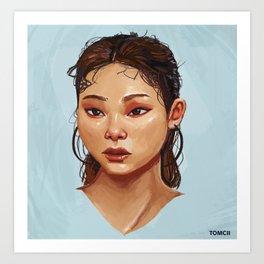 Red Eyes Portrait Art Print