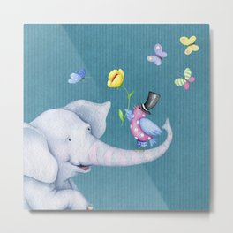 Elly and Chirp Metal Print