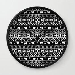 Japanese Spitz fair isle dog breed silhouette pet art pattern christmas ugly sweater Wall Clock