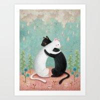 hug Art Prints featuring hug by bonnyart