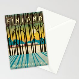 Finland Pendolino Rail, Vintage Style Travel Poster Stationery Cards