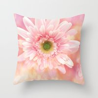 shabby chic Throw Pillows featuring Shabby Chic Daisy Flower by Kathy Fornal