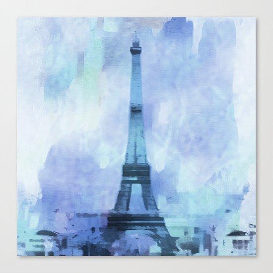 Blue Eifel Tower Paris France abstract painting Canvas Print