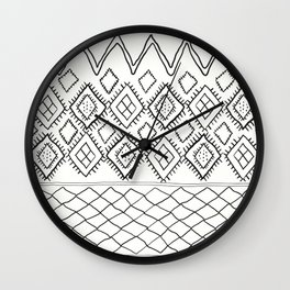 Beni Moroccan Print in Cream and Black Wall Clock