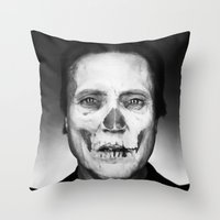 christopher walken Throw Pillows featuring CHRISTOPHER WALKEN SKULL by Maioriz Home