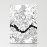 seoul Stationery Cards featuring Seoul Map Gray by City Art Posters