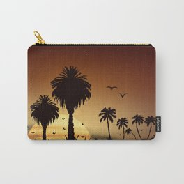 Sunsets and sunrises over the savanna with palm trees Carry-All Pouch