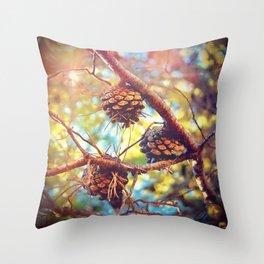 Autumn pine cones  #photography Throw Pillow