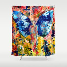 Butterfly 1, Acrylic On Canvas, Chase Medved Shower Curtain