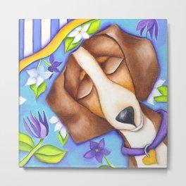 Happy Dreams Dachshund Dog Original Art Metal Print