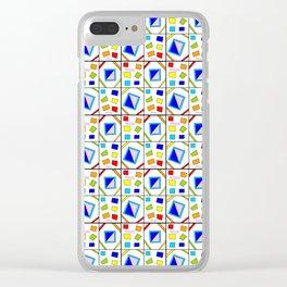symetric tartan and gingham 21 -vichy, gingham,strip,square,geometric, sober,tartan Clear iPhone Case