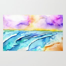 violet clouds - beach at sunset Rug
