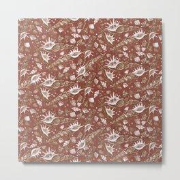 Seashells Sea Shells Underwater Pattern Paper Collage Earth Shades  Metal Print