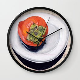 Persimmon on a Plate in Gouache Wall Clock