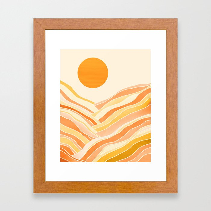 Golden Mountain Sunset Framed Art Print