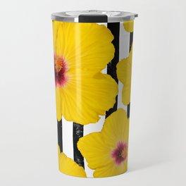 Summer Hibiscus Fun on Black & White Stripes Travel Mug