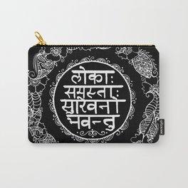 Square - Mandala - Mantra - Lokāḥ samastāḥ sukhino bhavantu - Black White Carry-All Pouch