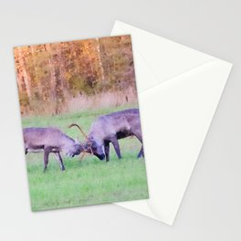 Fighting reindeers watercolor painting  Stationery Cards