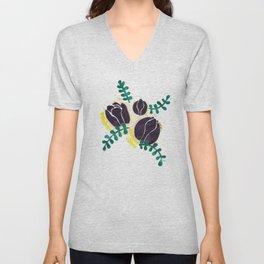 Black Tulips Unisex V-Neck