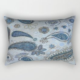 Blue Paisley Rectangular Pillow