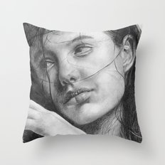 Angelina Jolie Traditional Portrait Print Throw Pillow