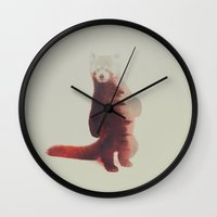 red panda Wall Clocks featuring Red Panda by Andreas Lie
