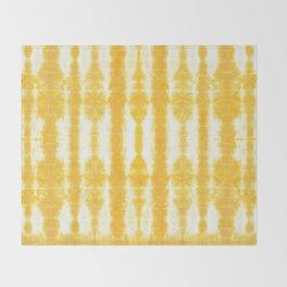 Yellow Tiki Shibori Throw Blanket