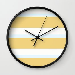 Strips - white, blue and beige. Wall Clock