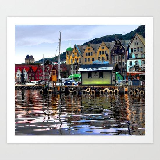 Bergen Harbour Art Print