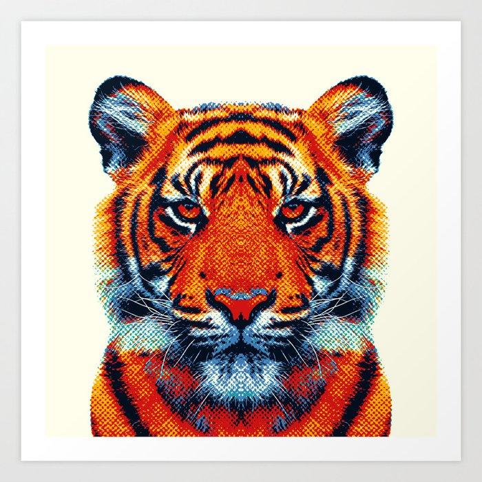 colorful animals tiger animal print artwork prints society6